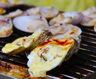 oysters on grill