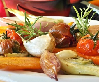 Vegetables on oven plate