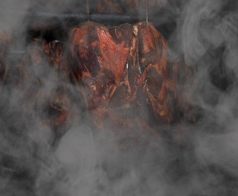 meat being smoked PS