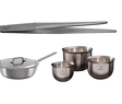 kitchen tweezers, sauteuse, mixing bowls